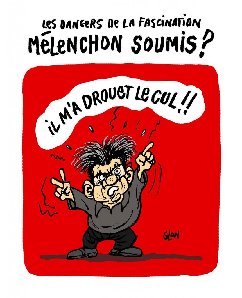 dessin d'actualité humoristique sur la fascination de Jean-Luc Mélenchon pour Éric Drouet