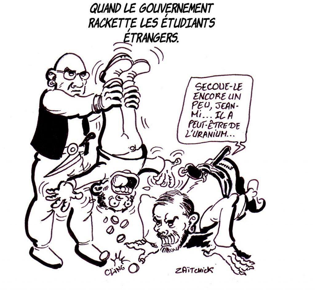dessin d'actualité humoristique sur la hausse des droits d'inscription pour les étudiants étrangers