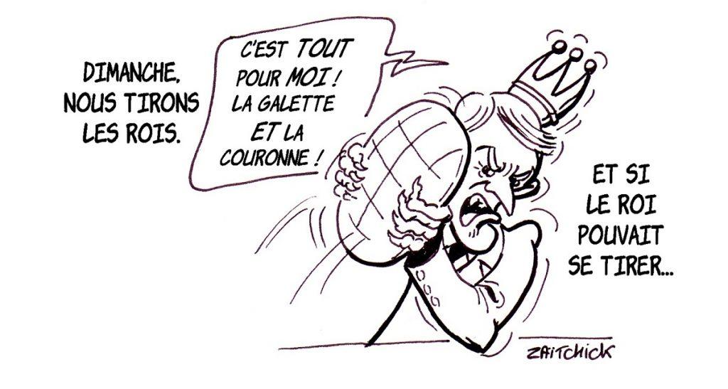 dessin d'actualité humoristique d'Emmanuel Macron et le tirage des Rois de l'Épiphanie