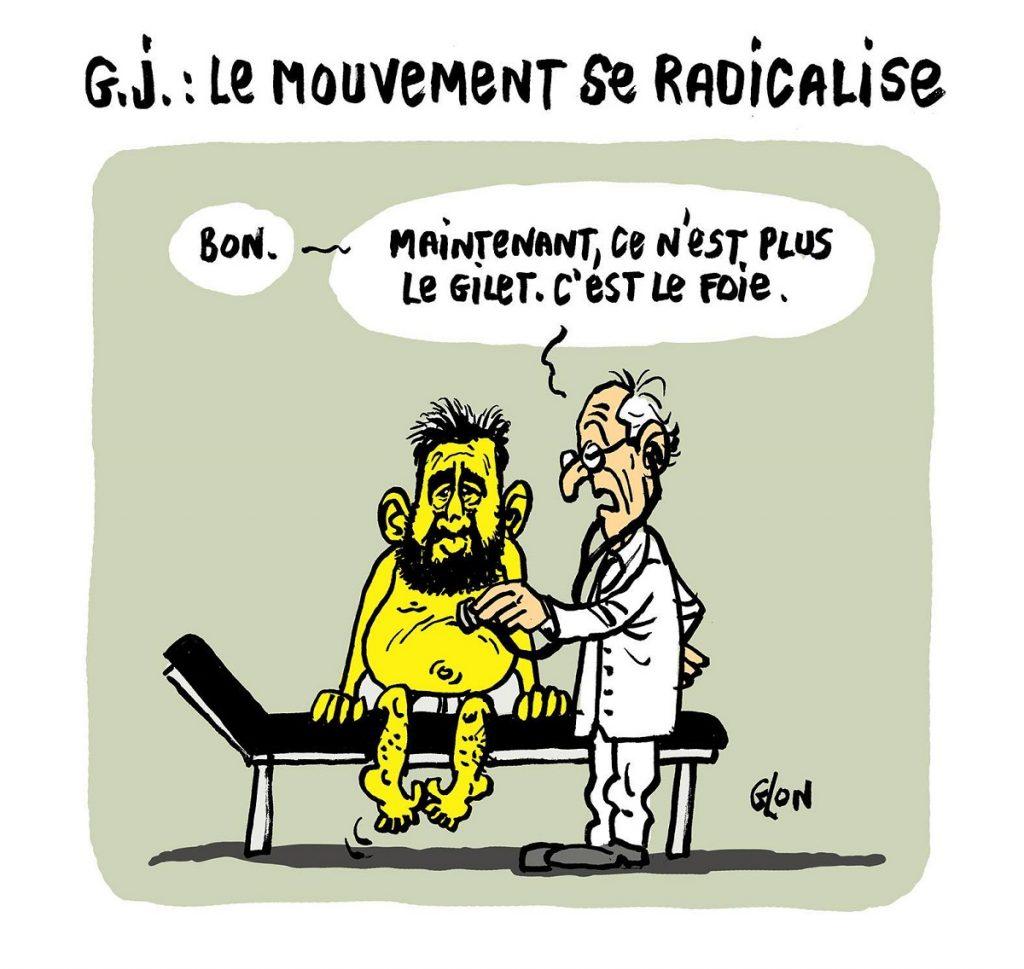 dessin d'actualité humoristique sur la radicalisation du mouvement des gilets jaunes