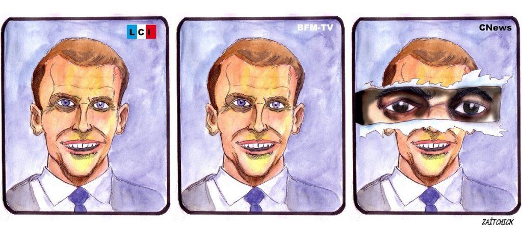 """dessin d'actualité humoristique sur Emmanuel Macron dans le film """"Il était une fois la Révolution"""""""