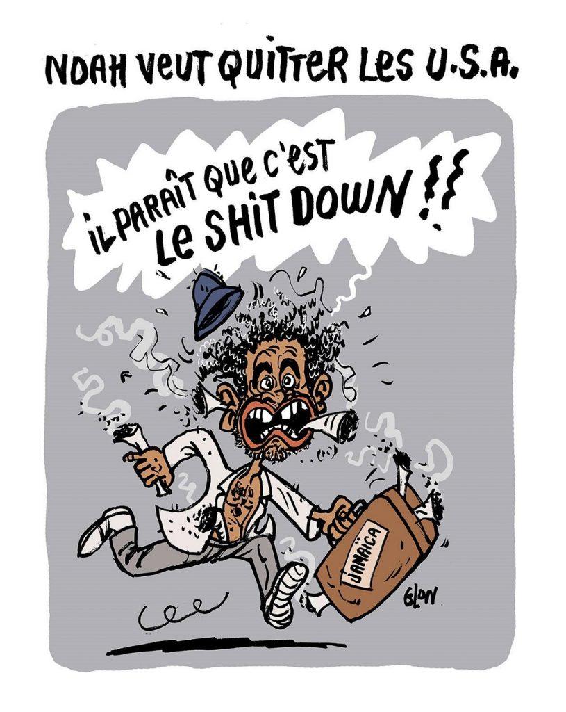 dessin d'actualité humoristique sur Yannick Noah et le shutdown aux États-Unis