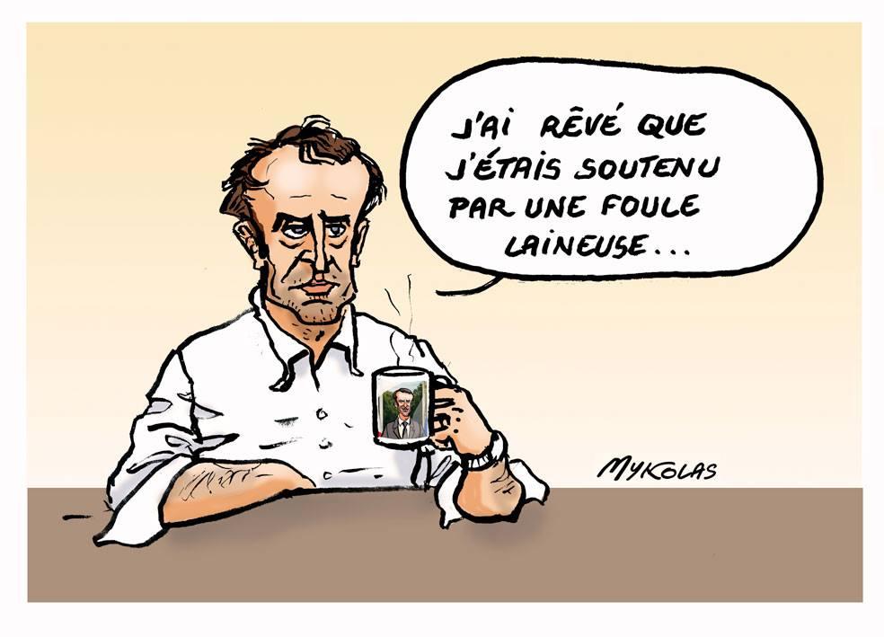 dessin d'actualité humoristique sur Emmanuel Macron face au mouvement des gilets jaunes