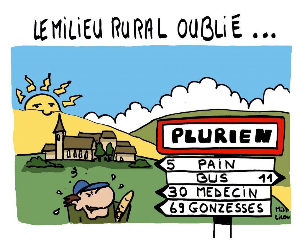 dessin d'actualité humoristique sur la désertification du milieu rural français