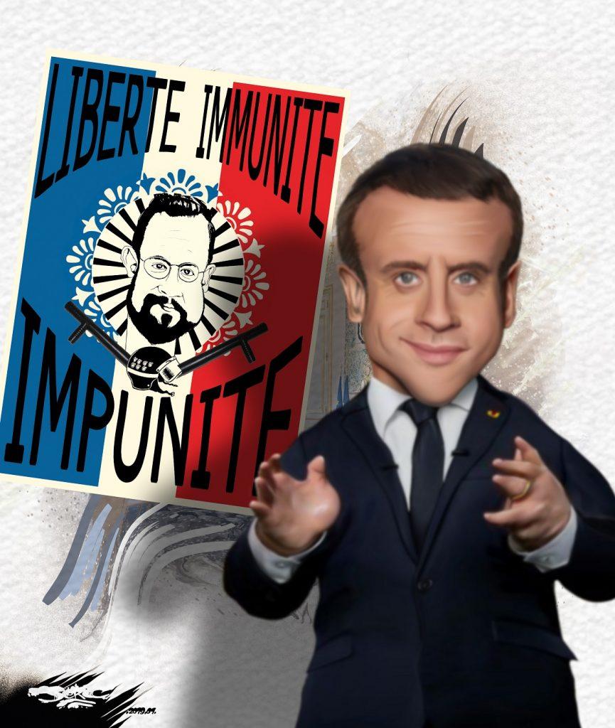 dessin d'actualité humoristique sur Emmanuel Macron et l'affaire Benalla