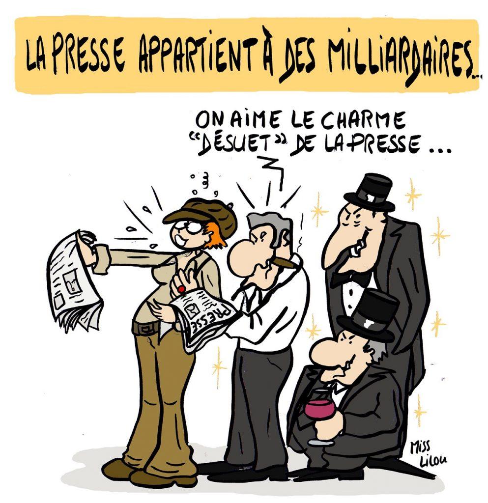 dessin d'actualité humoristique sur la presse française détenue par des milliardaires