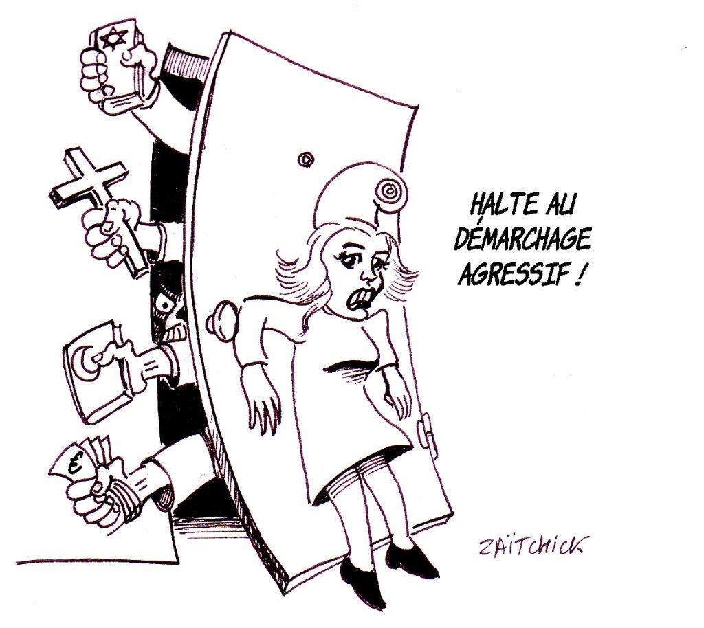 dessin d'actualité humoristique sur la laïcité mise en danger