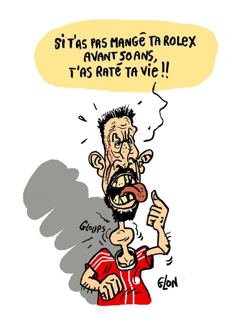 dessin d'actualité humoristique sur Franck Ribéry et sa côte de boeuf en or
