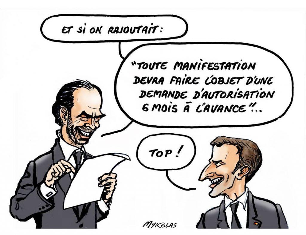 dessin d'actualité drôle sur Édouard Philippe et Emmanuel Macron préparant une loi pour contrer le mouvement des gilets jaunes