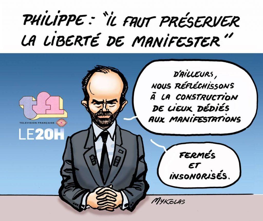 dessin d'actualité humoristique sur l'intervention d'Édouard Philippe au 20 heures de TF1