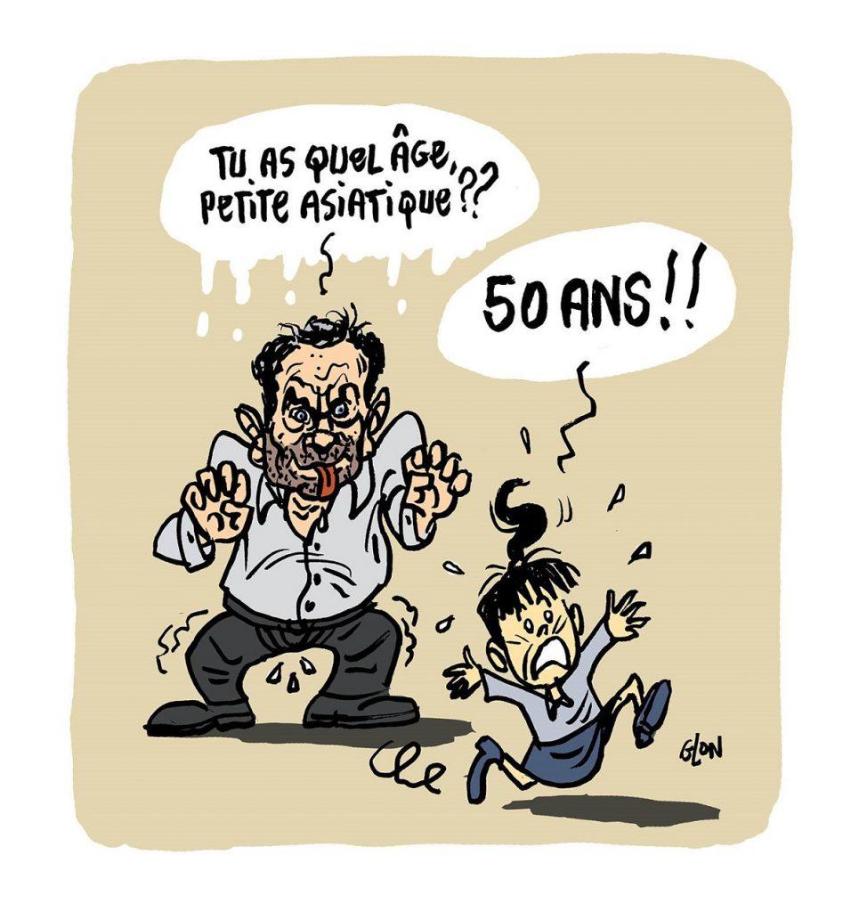 dessin d'actualité humoristique sur Yann Moix incapable d'aimer une femme de 50 ans