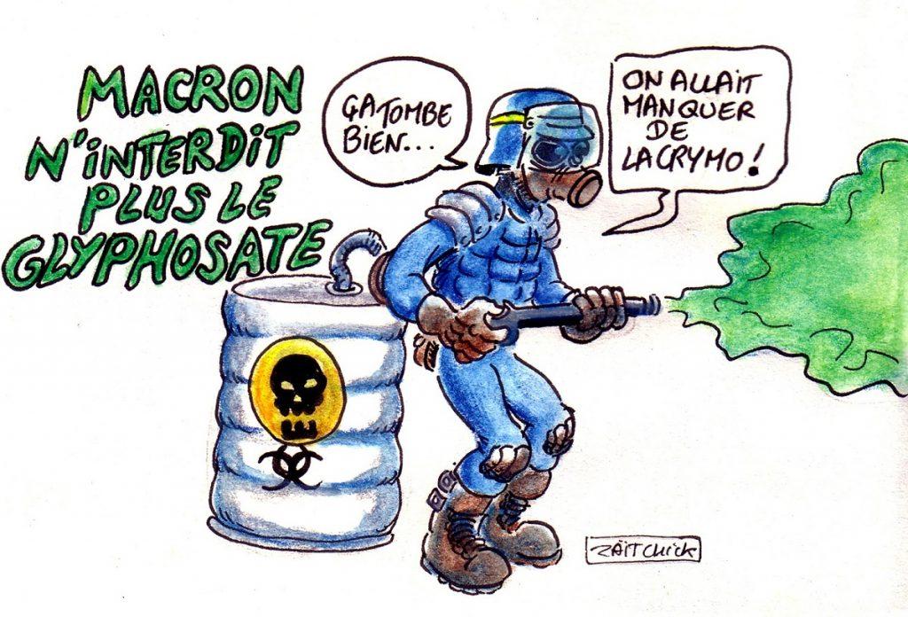 dessin d'actualité humoristique sur l'abandon de l'interdiction du glyphosate