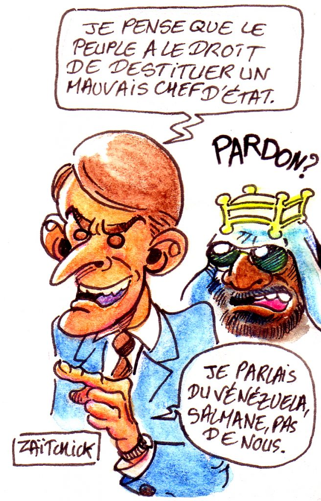 dessin d'actualité humoristique sur Emmanuel Macron et la situation au Venezuela