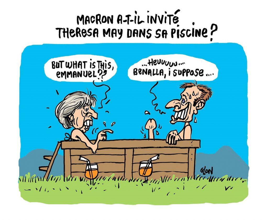 dessin d'actualité humoristique sur la visite de Theresa May au Fort de Brégançon
