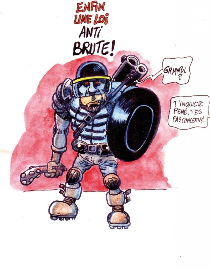 dessin d'actualité humoristique sur la brutalité de la répression policière