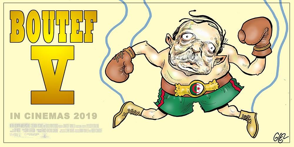 dessin d'actualité humoristique sur la candidature d'Abdelaziz Bouteflika à un cinquième mandat