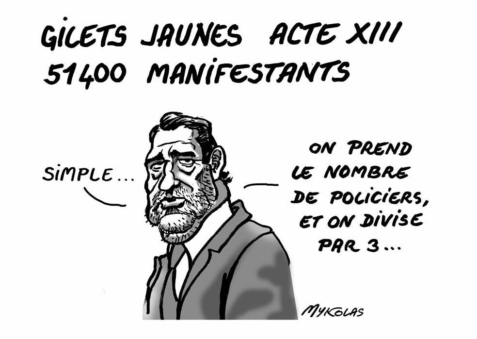 dessin d'actualité humoristique sur Christophe Castaner et le comptage des gilets jaunes