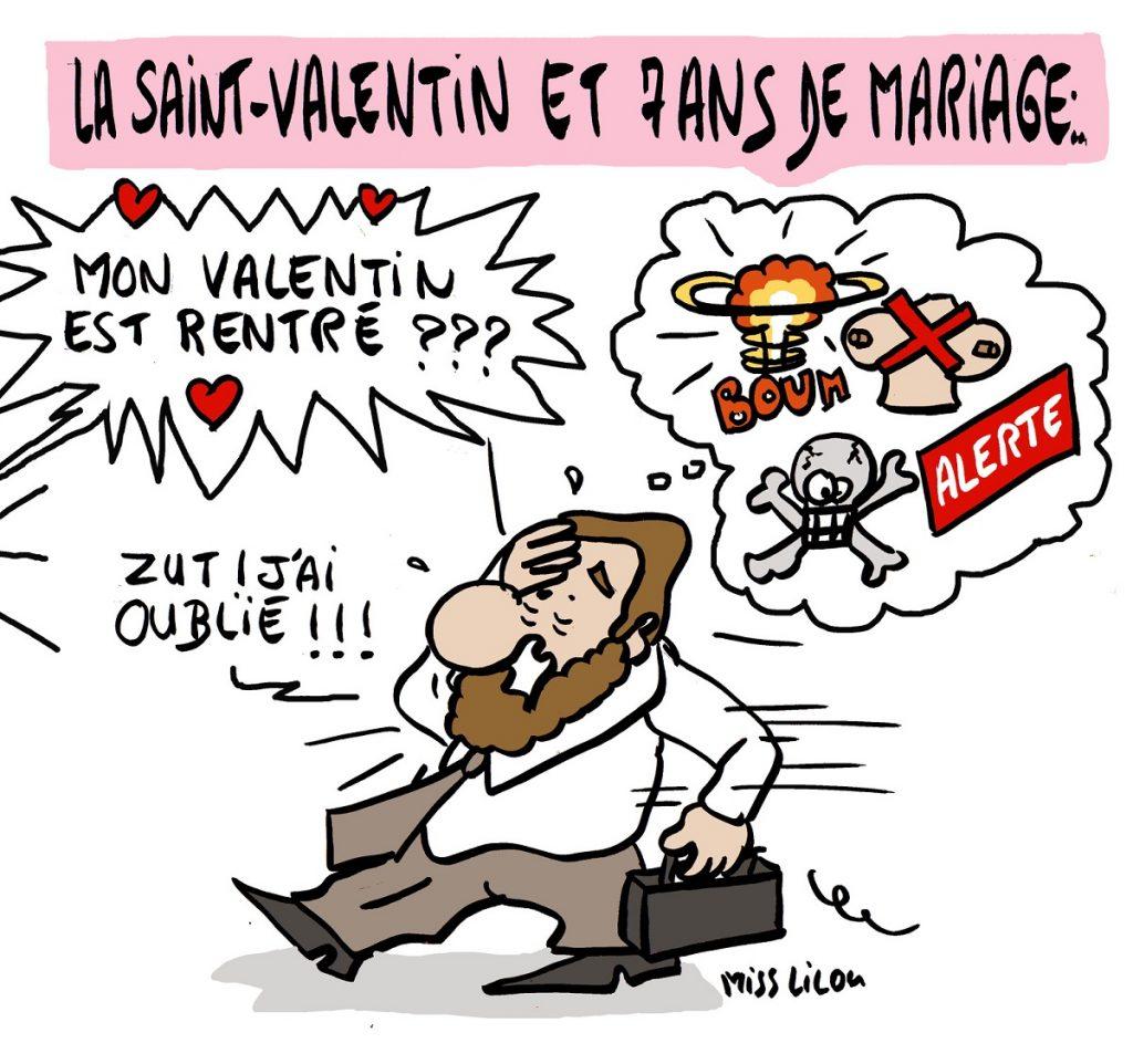 dessin d'actualité humoristique sur les hommes, la Saint-Valentin et 7 ans de mariage