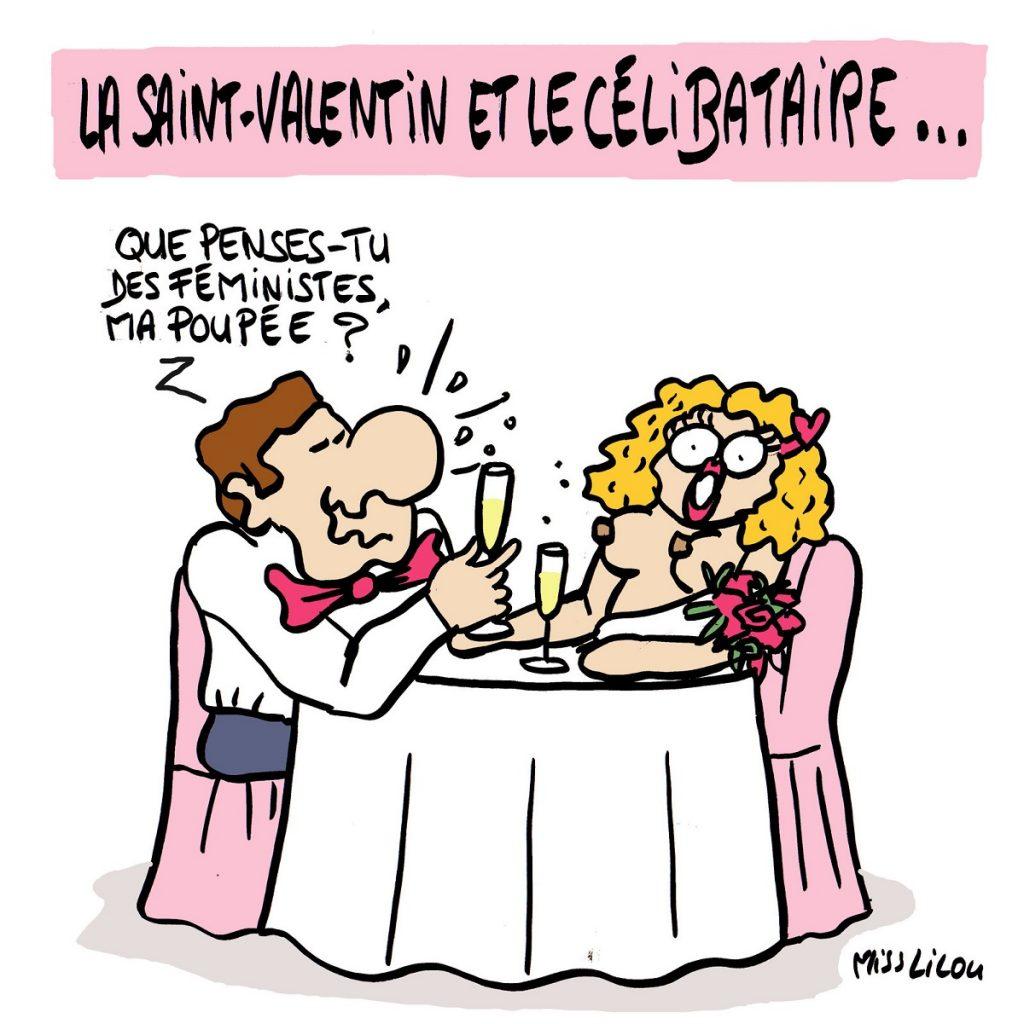 dessin d'actualité humoristique sur le célibat et la Saint-valentin
