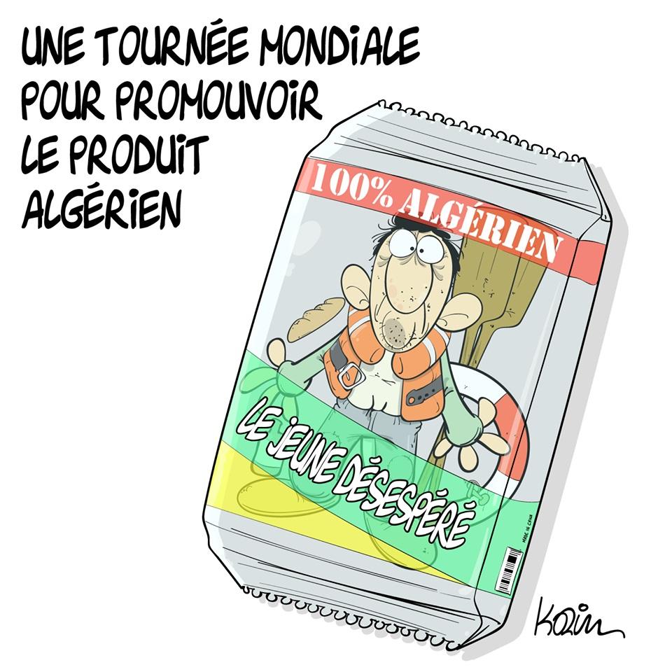 dessin d'actualité humoristique sur la jeunesse algérienne