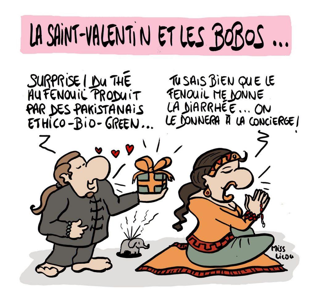 dessin d'actualité humoristique sur les bobos et la Saint-valentin