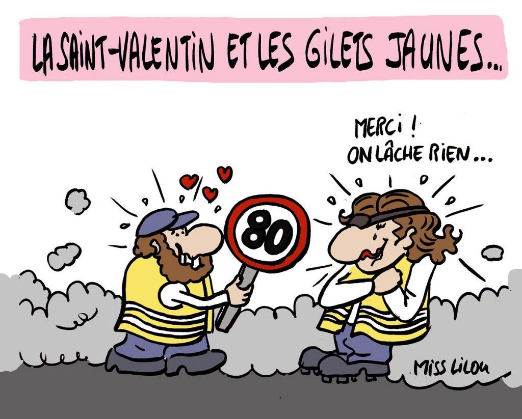 dessin d'actualité humoristique sur les gilets jaunes et la Saint-Valentin