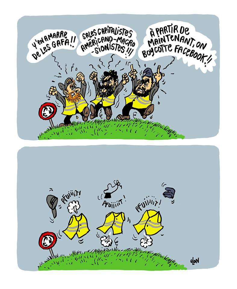 dessin d'actualité humoristique sur les leaders des gilets jaunes