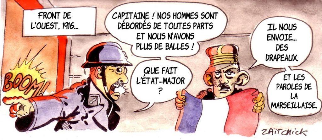 dessin d'actualité humoristique sur la décision de Jean-Michel Blanquer de mettre un drapeau français dans les classes