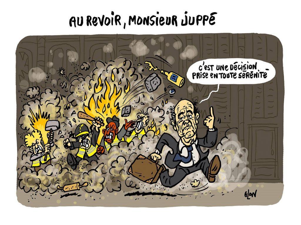 dessin d'actualité humoristique sur le départ d'Alain Juppé de la mairie de Bordeaux