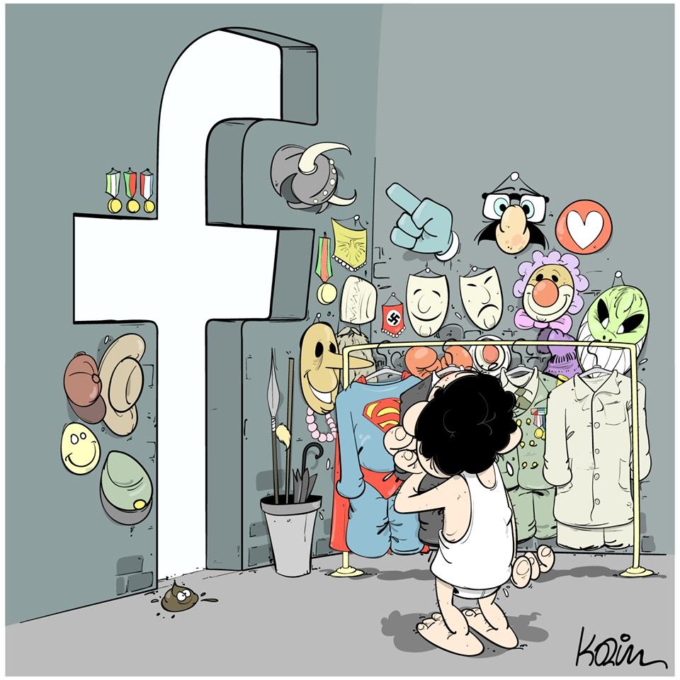dessin d'actualité humoristique sur les utilisateurs de Facebook