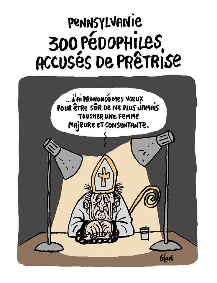 dessin d'actualité humoristique sur les prêtres pédophiles de Pennsylvanie