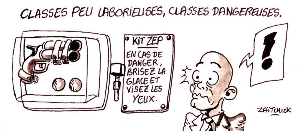 dessin d'actualité humoristique sur la présence policière dans les établissement dangereux