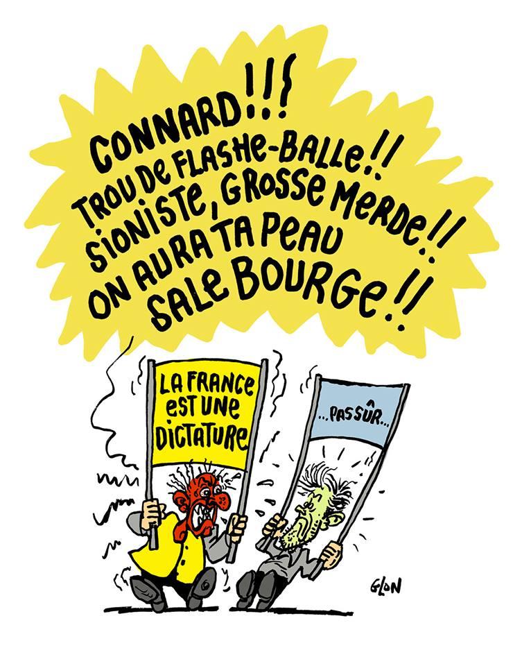 dessin d'actualité sur le mouvement des gilets jaunes et les violences verbales