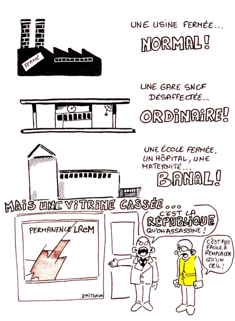 dessin d'actualité humoristique sur la République En Marche et le relativisme