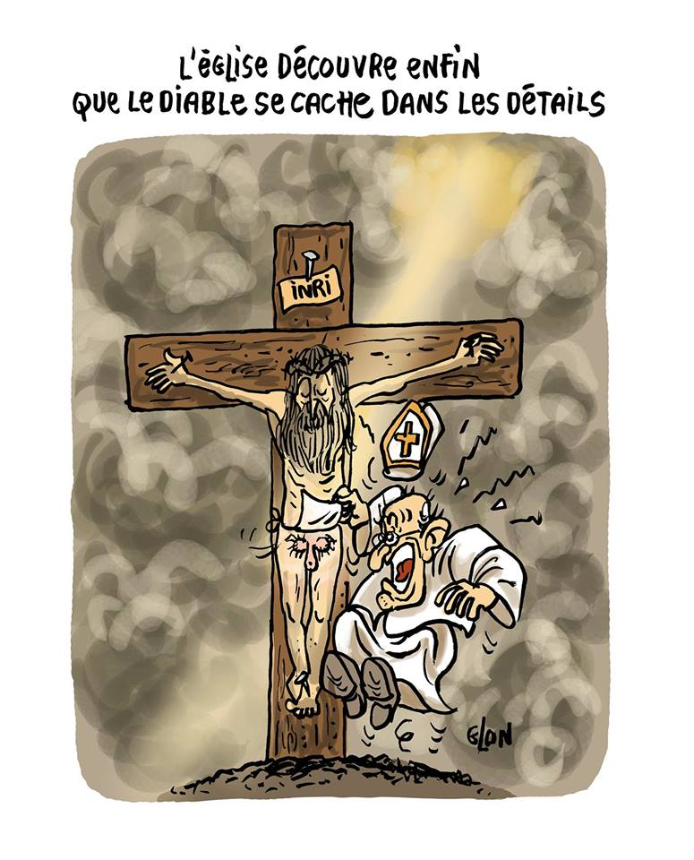dessin d'actualité humoristique sur les scandales sexuels et la pédophilie dans l'Église Catholique