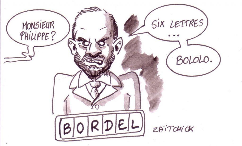 dessin d'actualité humoristique sur le bololo d'Édouard Philippe