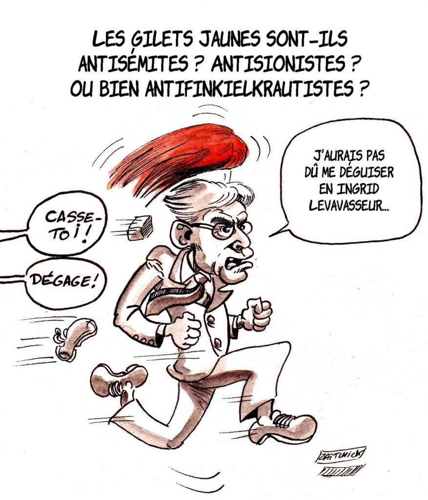 dessin d'actualité humoristique sur l'agression d'Alain Finkielkraut