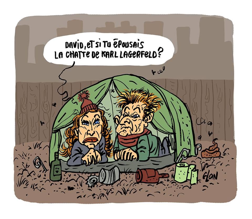 dessin d'actualité humoristique sur David et Laura Hallyday envisageant de récupérer la fortune de la chatte de Karl Lagerfeld