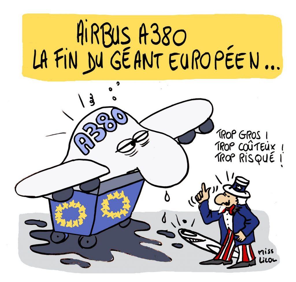 dessin d'actualité humoristique sur l'arrêt de la production de l'Airbus A380