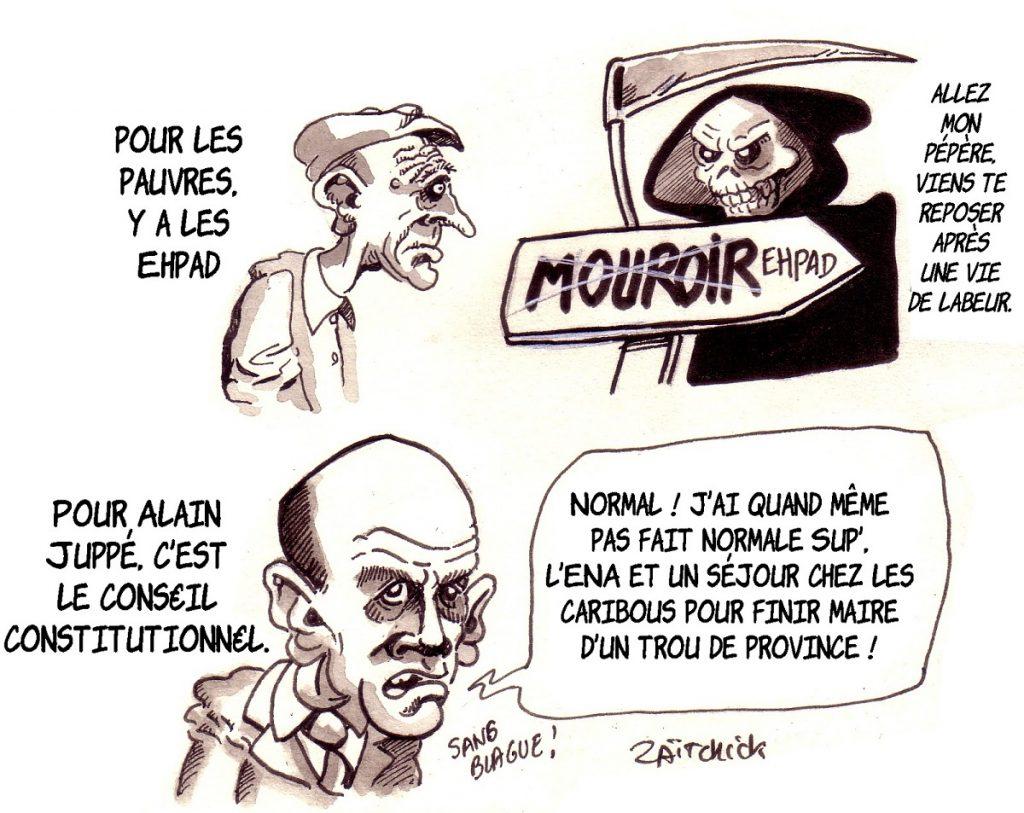 dessin d'actualité humoristique sur la nomination d'Alain Juppé au Conseil Constitutionnel