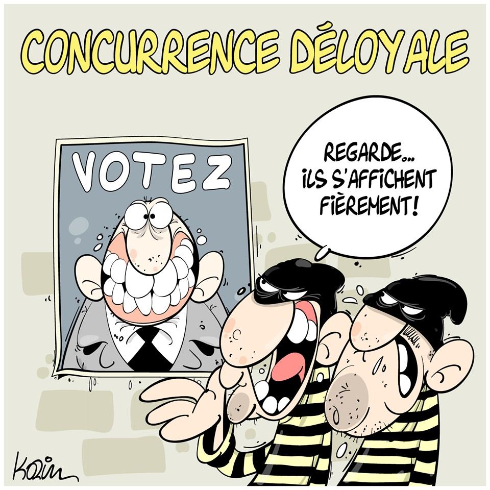 dessin d'actualité humoristique sur l'honnêteté des candidats politiques