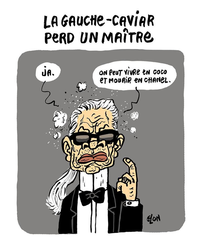 dessin d'actualité humoristique sur la disparition de Karl Lagerfeld