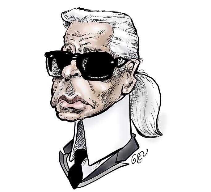 caricature portrait de Karl Lagerfeld