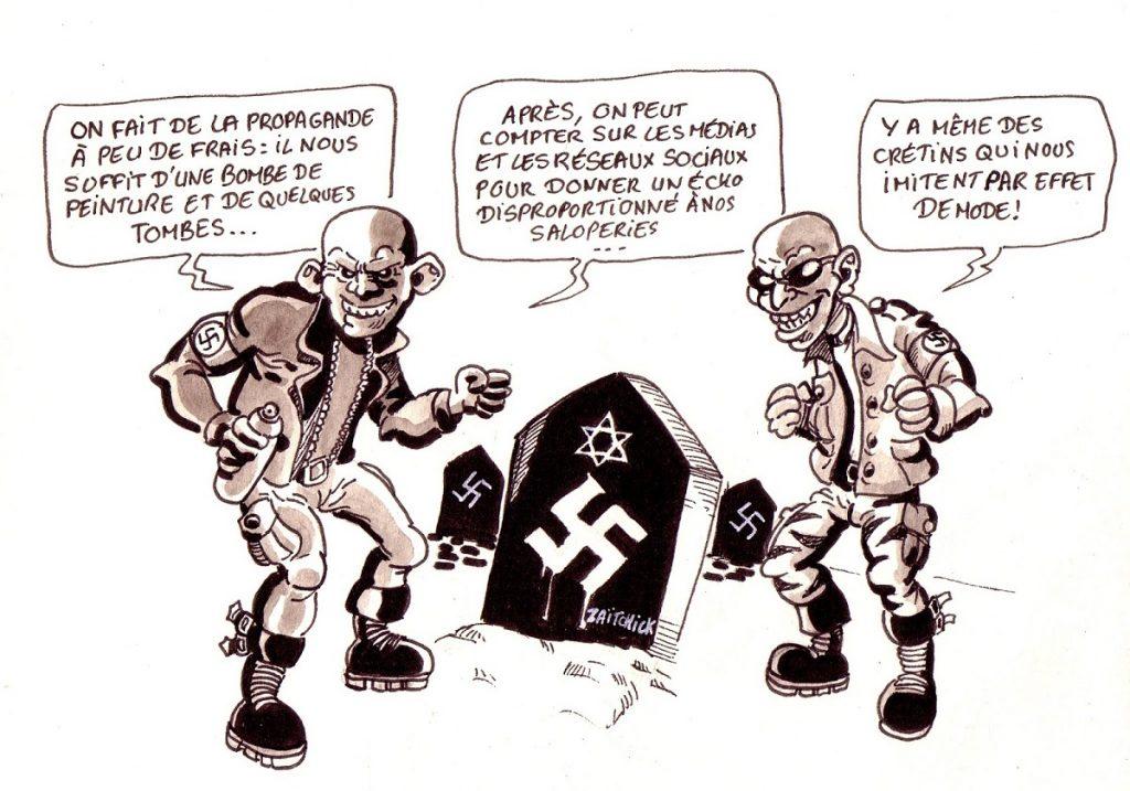 dessin d'actualité humoristique sur les récentes profanations de cimetières juifs