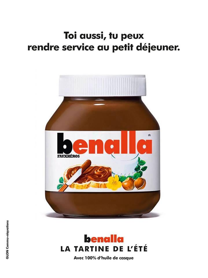 dessin d'actualité humoristique sur Alexandre Benalla et le Nutella