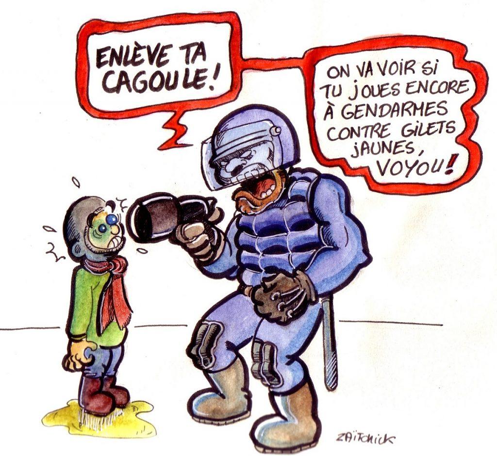 dessin d'actualité humoristique sur la loi anti-casseurs et les violences policières
