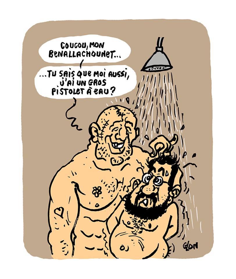 dessin d'actualité humoristique sur la mise en détention d'Alexandre Benalla et l'affaire du selfie au pistolet