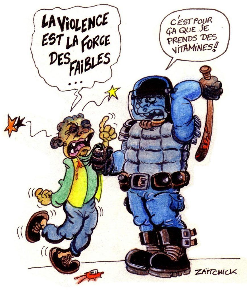 dessin d'actualité humoristique sur les violences policières