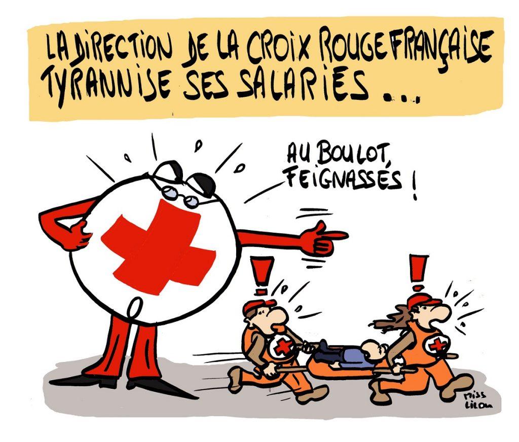 dessin d'actualité humoristique sur la Croix Rouge française