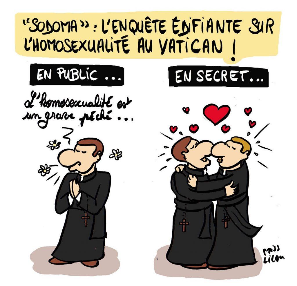 dessin d'actualité humoristique sur les révélations de l'enqueête Sodoma concernant l'homosexualité au Vatican